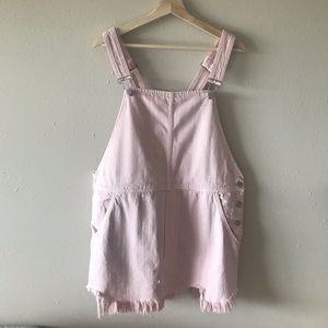 Free people pink denim skirt overalls frayed hem
